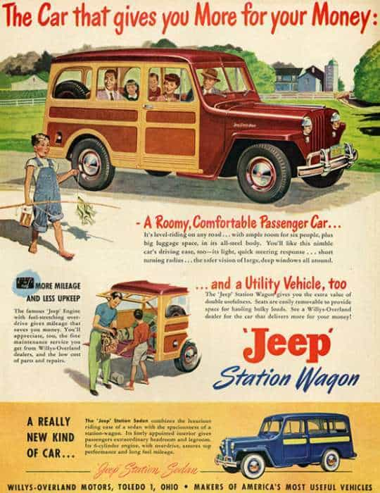 automobile-cars-jeep-autojeep-2-Framed Vintage Artwork from Interior Elements, Eagle WI