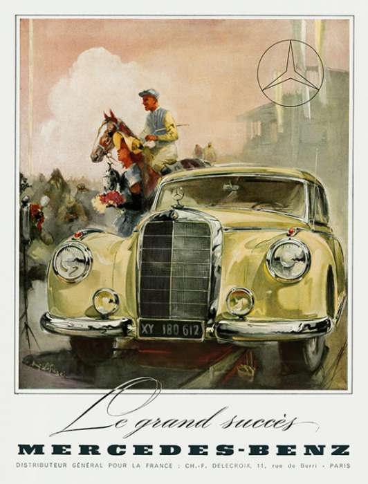 automobile-cars-mercedes-automercedes2-Framed Vintage Artwork from Interior Elements, Eagle WI