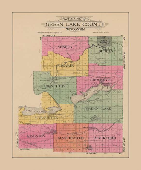 plat-map-green-lake-county-pmglcglc-Framed Vintage Artwork from Interior Elements, Eagle WI