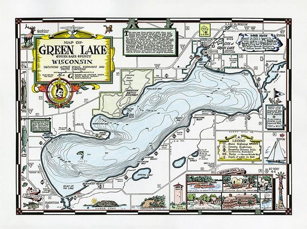 green-lake-map-fun-glmf-Framed Vintage Artwork from Interior Elements, Eagle WI