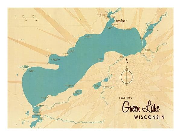 Green-Lake-Map-GLM1-Framed Vintage Artwork from Interior Elements, Eagle WI