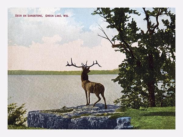 green-lake-postcard-glp2-Framed Vintage Artwork from Interior Elements, Eagle WI