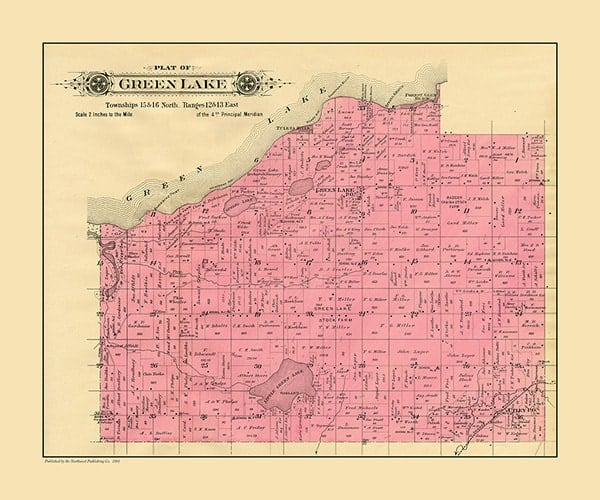 plat-map-green-lake-township-1901-pmglcglt1901-Framed Vintage Artwork from Interior Elements, Eagle WI