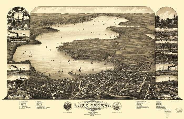 lake-geneva-birdseye-2-lgb2-Framed Vintage Artwork from Interior Elements, Eagle WI