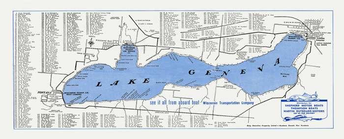 Lake-Geneva-Lake Map-LGLM-Framed Vintage Artwork from Interior Elements, Eagle WI