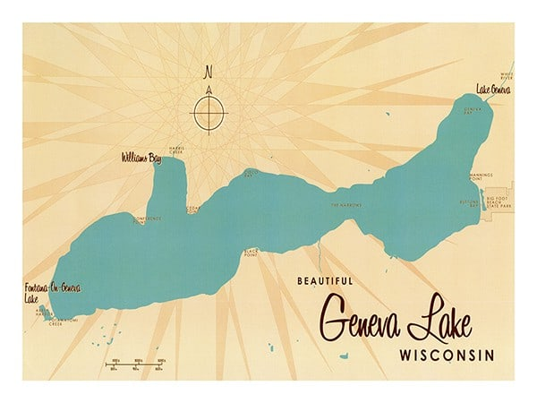 Lake-Geneva-Geneva-Lake-Lakebound-LGGLL-Framed Vintage Artwork from Interior Elements, Eagle WI