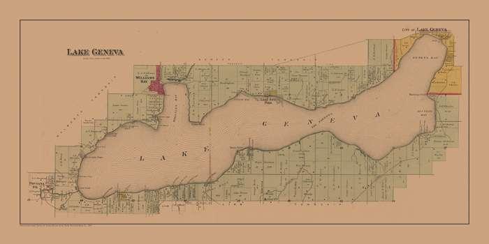 lake-geneva-geneva-lake-map-lgglm-Framed Vintage Artwork from Interior Elements, Eagle WI
