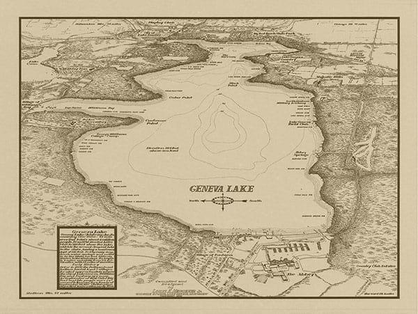 Lake-Geneva-Geneva-Lake-Map-Sepia-LGGLMS-Framed Vintage Artwork from Interior Elements, Eagle WI