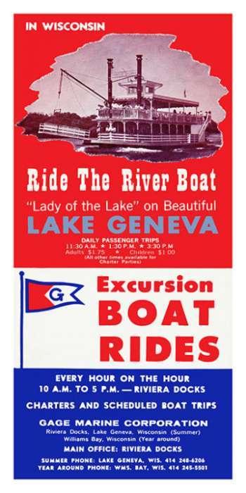 Lake-Geneva-Geneva-Lake-River-Boat-LGGLRB-Framed Vintage Artwork from Interior Elements, Eagle WI