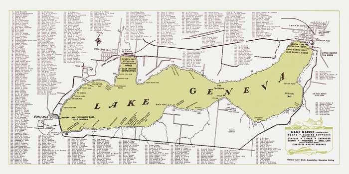 Lake-Geneva-Green-Map-LGGM-Framed Vintage Artwork from Interior Elements, Eagle WI
