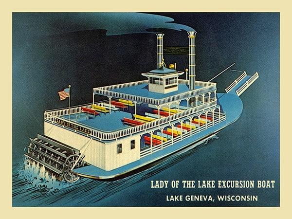 Lake-Geneva-Lady-of-the-Lake-LGLOTF-Framed Vintage Artwork from Interior Elements, Eagle WI