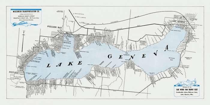 lake-geneva-map-1940-lgm1940-Framed Vintage Artwork from Interior Elements, Eagle WI