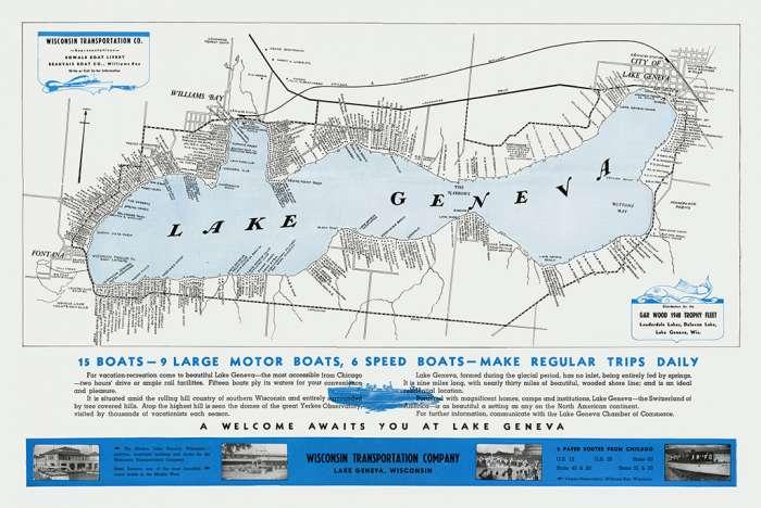 lake-geneva-map-2-1940-lgm21940-Framed Vintage Artwork from Interior Elements, Eagle WI