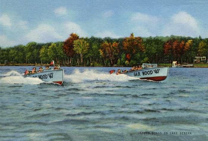 lake-geneva-speed-boats-lgspg-Framed Vintage Artwork from Interior Elements, Eagle WI