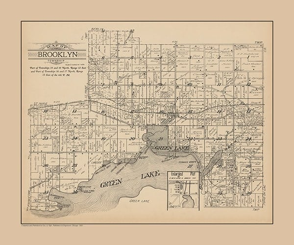 plat-map-brooklyn-1923-pmglcb1923-Framed Vintage Artwork from Interior Elements, Ealge WI