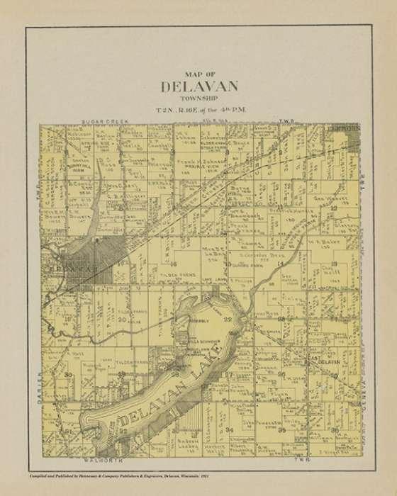plat-map-delavan-1921-pmad1921-Framed Vintage Artwork from Interior Elements, Eagle WI