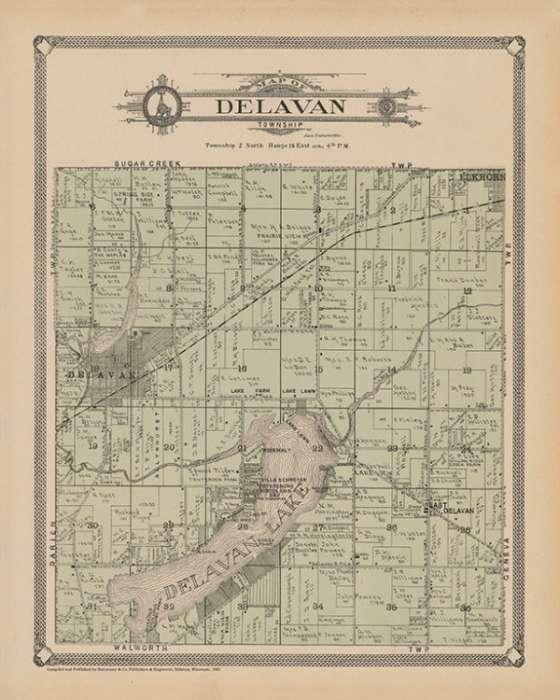 plat-map-delavan-township-1907-pmahdt1907-Framed Vintage Artwork from Interior Elements, Eagle WI