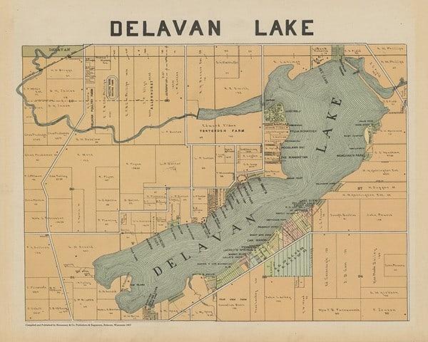 plat-map-delevan-1907-pmahd1907-Framed Vintage Artwork from Interior Elements, Eagle WI