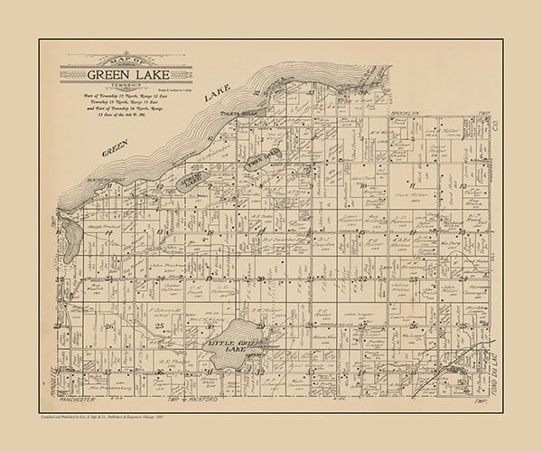 plat-map-green-lake-1923-pmglcgl1923-Framed Vintage Artwork from Interior Elements, Eagle WI
