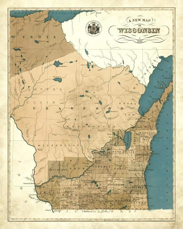 1846 Wisconsin Map 24x30 Adjusted Framed Map from Interior Elements, Eagle WI