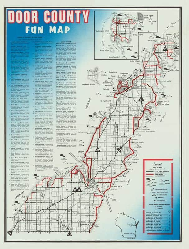 Door County Framed Map from Interior Elements, Eagle WI