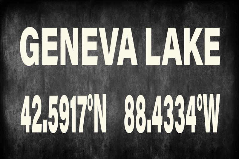 Geneva Lake Blackboard 12x18 Framed Artwork from Interior Elements, Eagle WI