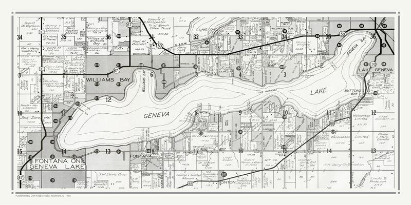 Geneva Lake Map 1966 18x36 Framed Artwork from Interior Elements, Eagle WI