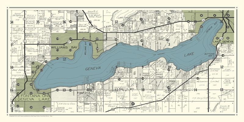 Geneva Lake Map 1966 20x40 Framed Artwork from Interior Elements, Eagle WI