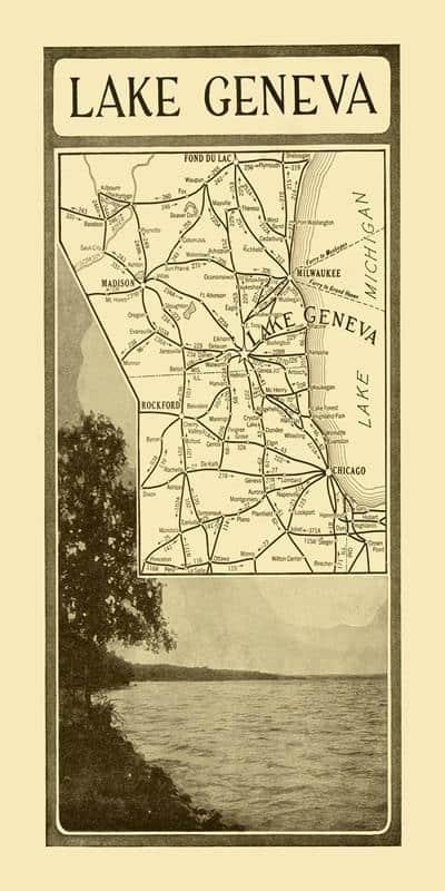 Lake Geneva Gem Map 10x20 Framed Artwork from Interior Elements, Eagle WI