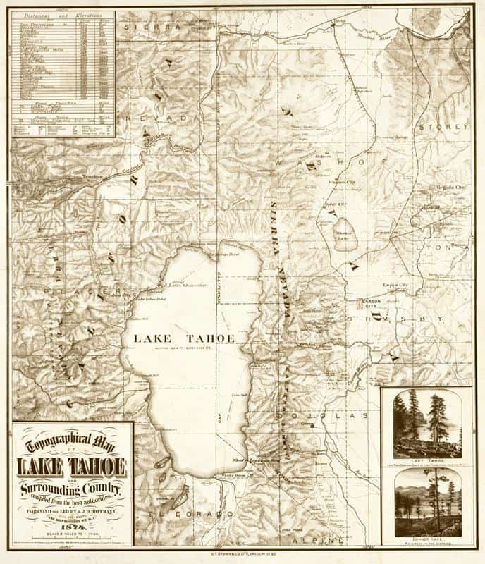 Lake Tahoe Framed Map from Interior Elements, Eagle WI