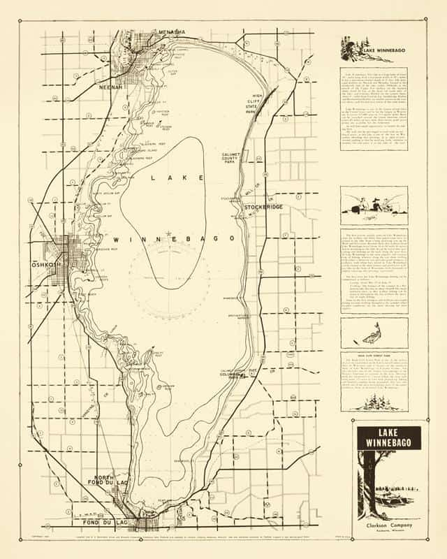 Lake Winnebago 24x30 Framed Map from Interior Elements, Eagle WI