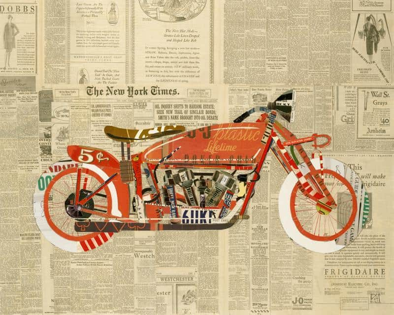 Newspaper Bike 16X20-3 Framed Artwork from Interior Elements, Eagle WI