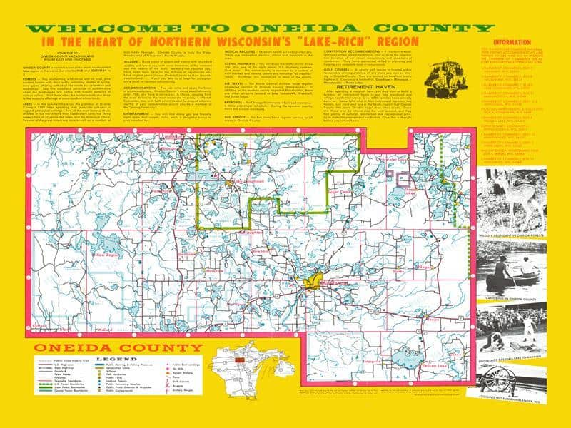 Onieida County 18x24 Framed Map from Interior Elements, Eagle WI
