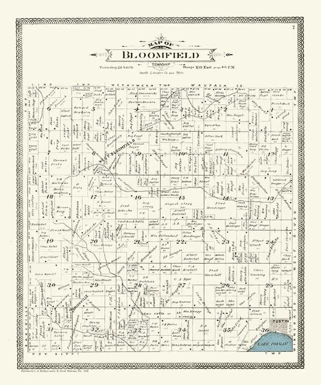 Plat Map Bloomfield PMWCB Framed Map from Interior Elements, Eagle WI