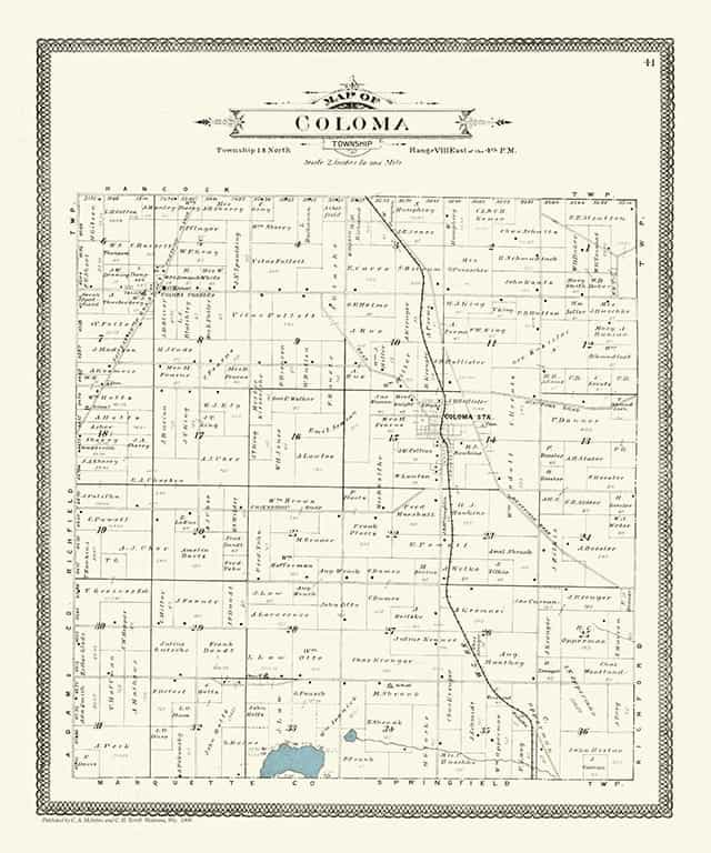 Plat Map Coloma PMWCC Framed Map from Interior Elements, Eagle WI