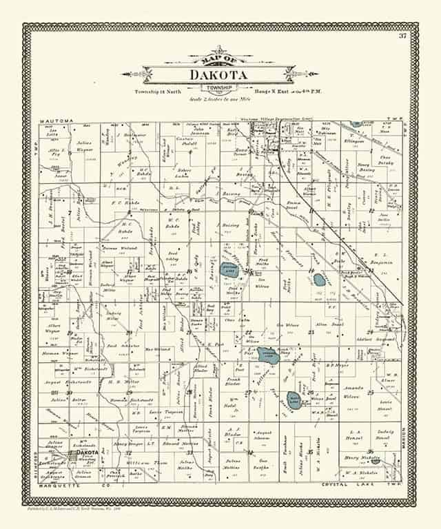 Plat Map Dakota PMWCD Framed Map from Interior Elements, Eagle WI