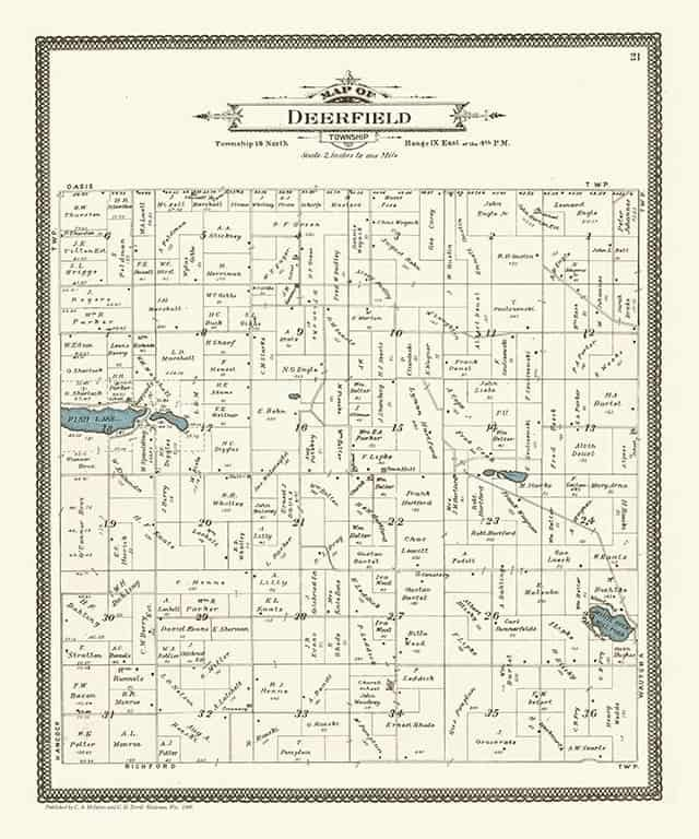 Plat Map Deerfield PMWCDF Framed Map from Interior Elements, Eagle WI