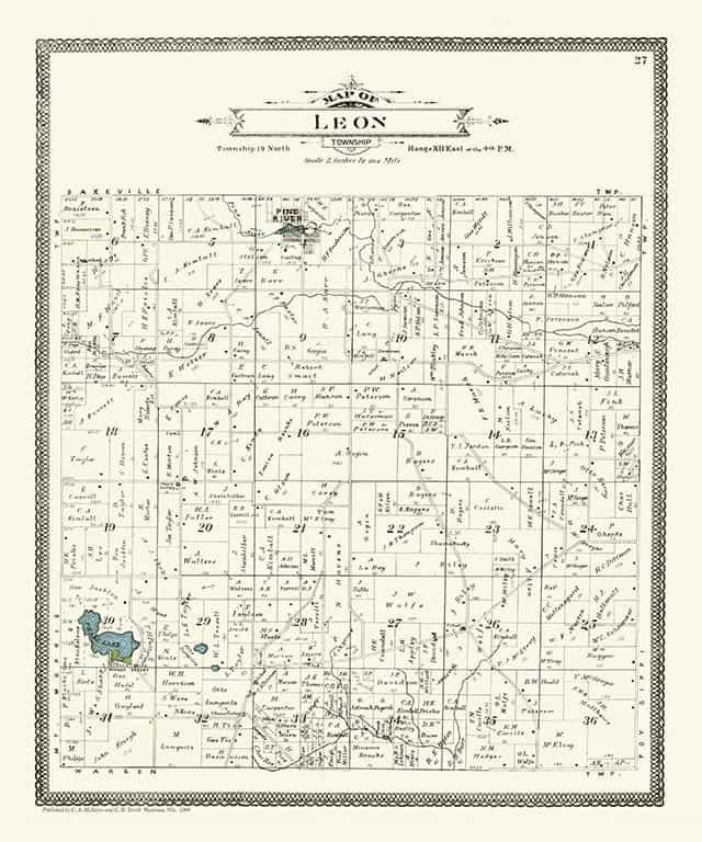 Plat Map Leon PMWCL Framed Map from Interior Elements, Eagle WI