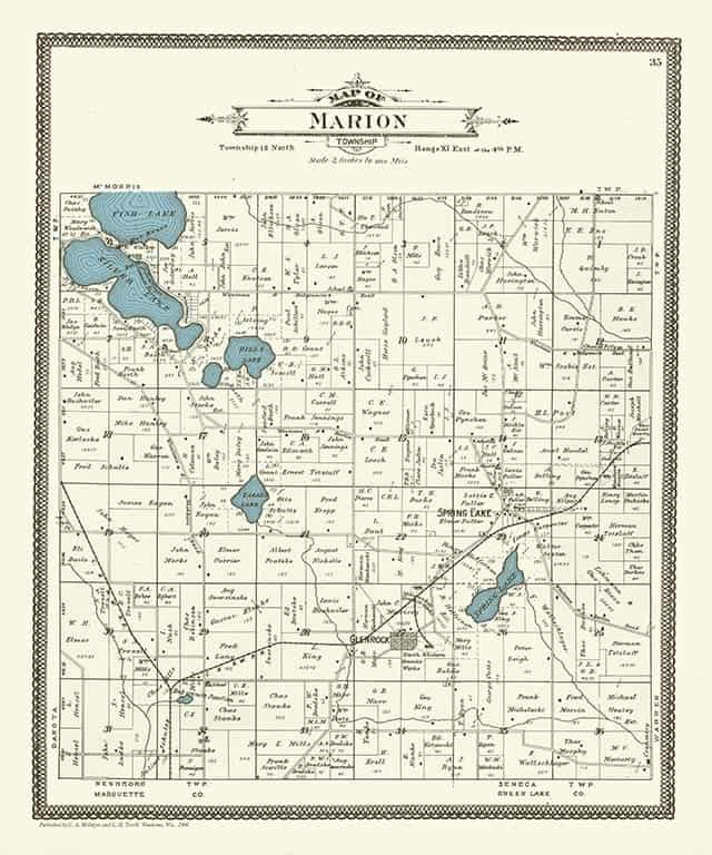 Plat Map Marion PMWCM Framed Map from Interior Elements, Eagle WI