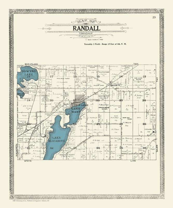 Randall Map 20x24 Framed Map from Interior Elements, Eagle WI