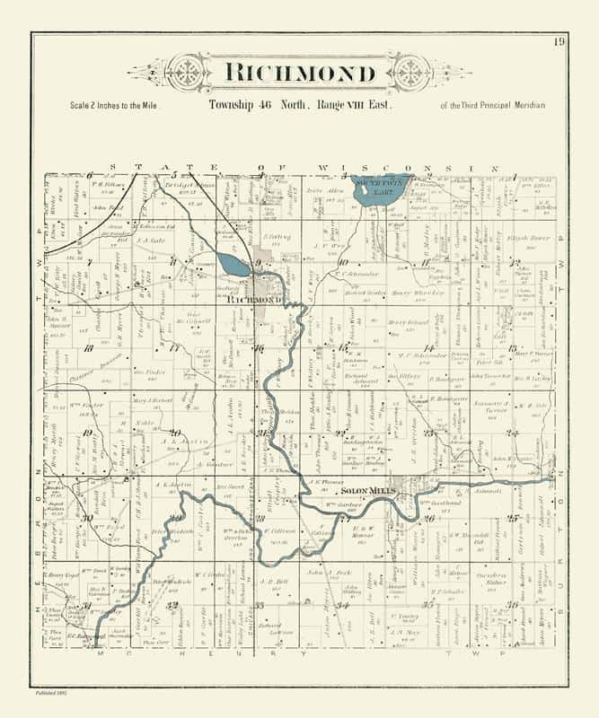 Richmond IL 1892 20x24 Framed Map from Interior Elements, Eagle WI